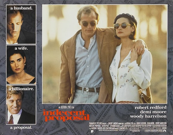 Indecent Proposal Lobby Card With Demi Moore Woody Harrelson