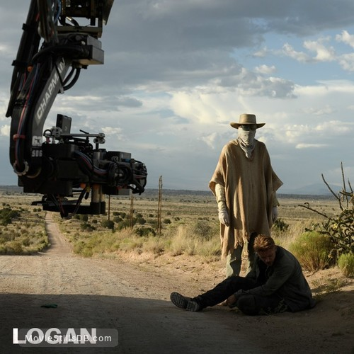 Logan - Behind the scenes photo of Stephen Merchant & Boyd Holbrook