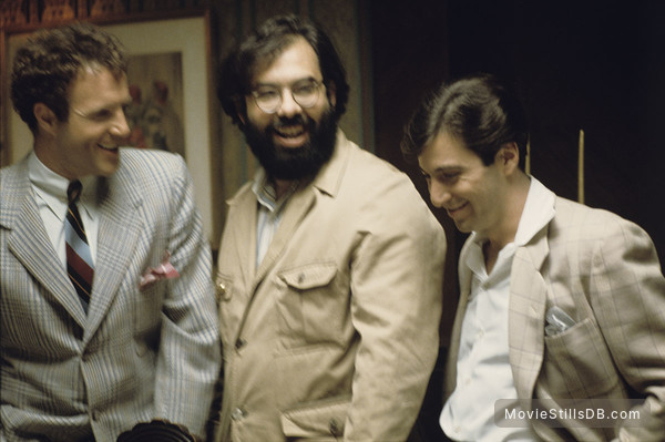 The Godfather - Behind the scenes photo of Al Pacino, James Caan & Francis Ford Coppola
