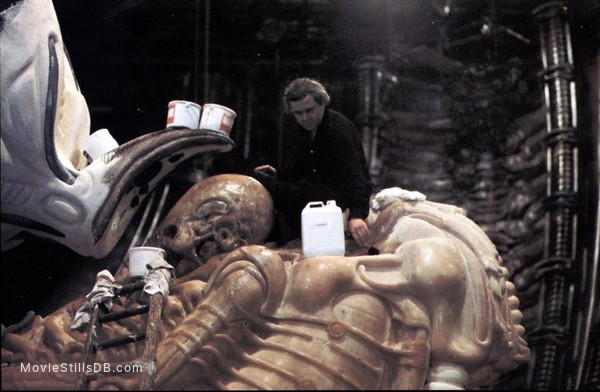 Alien - Behind the scenes photo of H.R. Giger