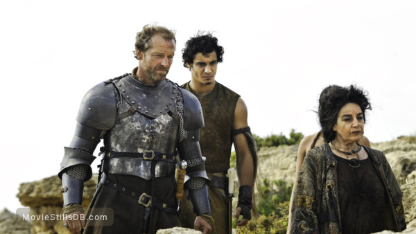Game of Thrones - Publicity still of Iain Glen, Elyes Gabel & Mia Soteriou