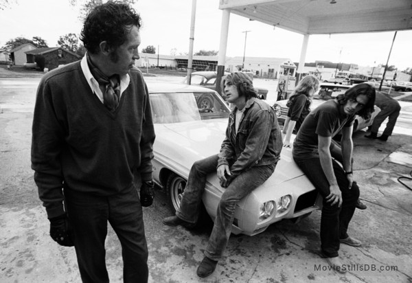 Two-Lane Blacktop - Publicity still of James Taylor, Warren Oates, Laurie Bird & Dennis Wilson