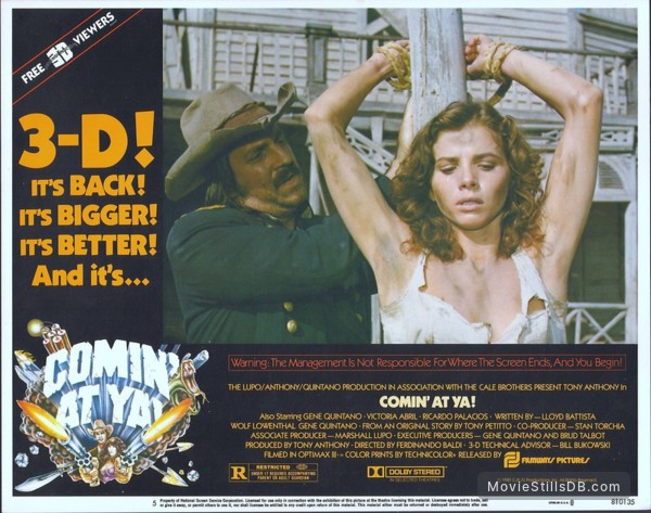 Comin' at Ya! - Lobby card with Victoria Abril & Gene Quintano