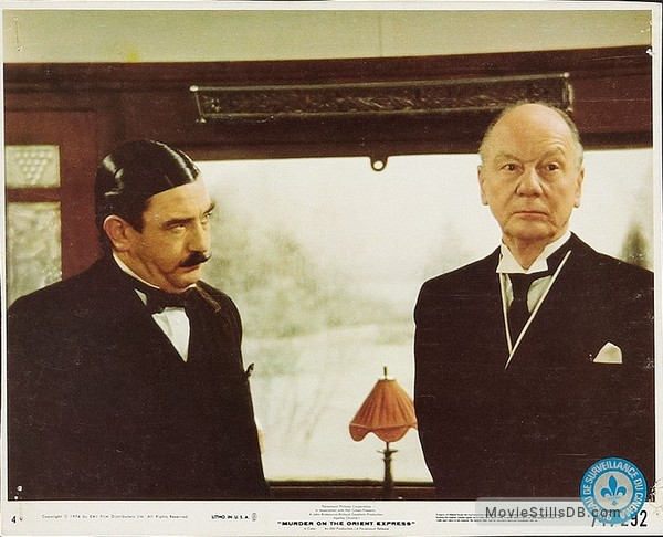 Murder on the Orient Express - Lobby card with Albert Finney & John Gielgud