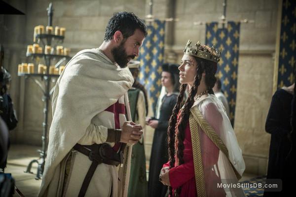 Knightfall - Publicity still of Olivia Ross & Tom Cullen