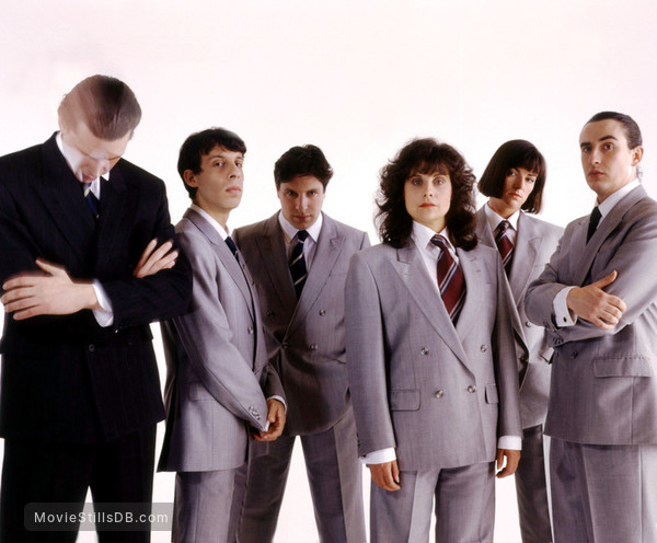The Day Today - Promo shot of Steve Coogan, Chris Morris, David Schneider, Patrick Marber, Rebecca Front & Doon Mackichan