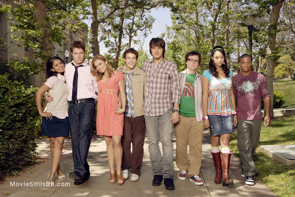 Greek - Promo shot of Clark Duke, Dilshad Vadsaria, Paul James, Jake McDorman, Scott Michael Foster, Amber Stevens Iii, Spencer Grammer & Jacob Zachar