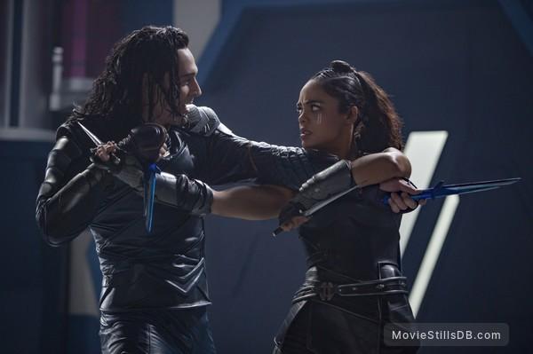 Thor: Ragnarok - Publicity still of Tom Hiddleston & Tessa Thompson