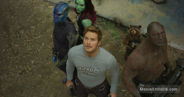 Guardians of the Galaxy Vol. 2 - Publicity still of Zoe Saldana, Chris Pratt, Karen Gillan & Dave Bautista