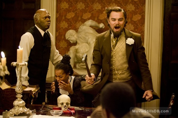 Django Unchained - Publicity still of Leonardo DiCaprio, Samuel L. Jackson & Kerry Washington