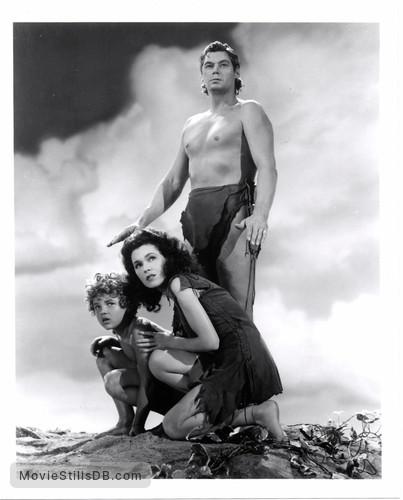 Tarzan's Secret Treasure - Publicity still of Maureen O'Sullivan, Johnny Weismuller & Johnny Sheffield