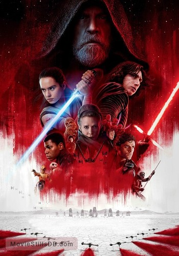 Star Wars: The Last Jedi - Promotional art with Mark Hamill, Daisy Ridley, Oscar Isaac, John Boyega, Kelly Marie Tran, Carrie Fisher, Adam Driver, Gwendoline Christie & Domhnall Gleeson