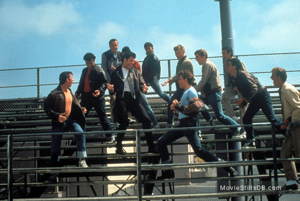 Grease - Publicity still of John Travolta, Kelly Ward, Michael Tucci, Barry Pearl & Jeff Conaway