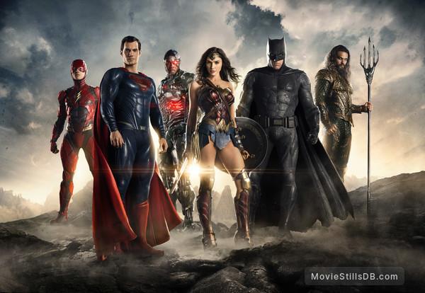 Justice League - Promotional art with Ben Affleck, Henry Cavill, Jason Momoa, Gal Gadot, Ezra Miller & Ray Fisher