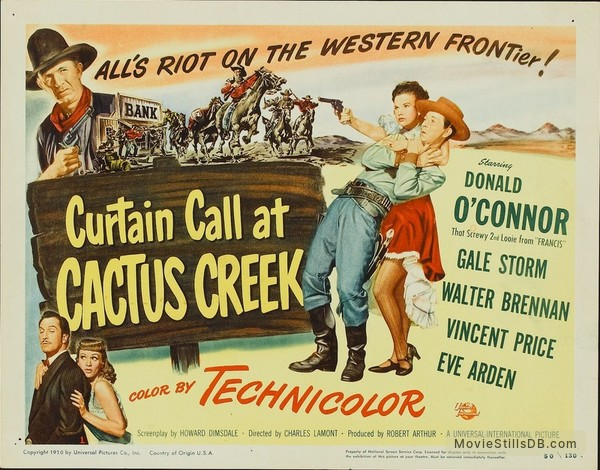Curtain Call at Cactus Creek - Lobby card with Donald O'Connor, Gale Storm, Vincent Price, Eve Arden & Walter Brennan