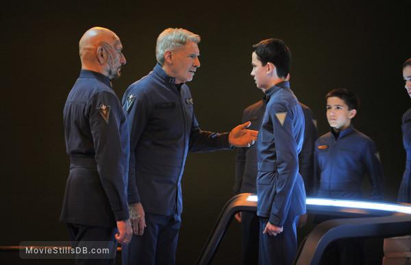 Ender's Game - Publicity still of Asa Butterfield, Harrison Ford & Ben Kingsley