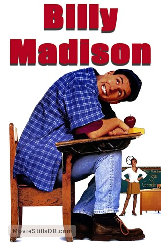Billy Madison - Promotional art with Bridgette Wilson & Adam Sandler
