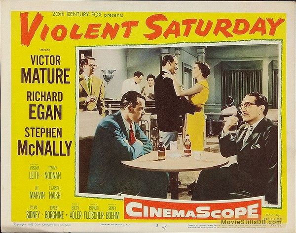 Violent Saturday - Lobby card with Lee Marvin, Tommy Noonan, Virginia Leith & J. Carrol Naish