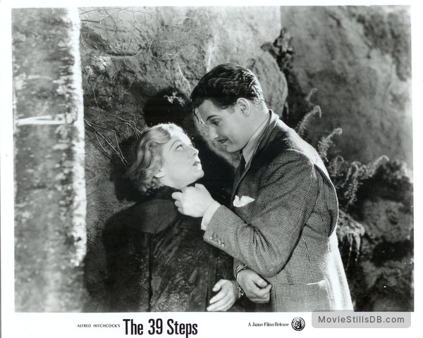 The 39 Steps - Publicity still of Robert Donat & Madeleine Carroll