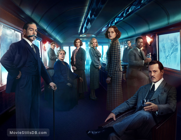 Murder on the Orient Express - Promotional art with Johnny Depp, Daisy Ridley, Michelle Pfeiffer, Penélope Cruz, Willem Dafoe, Kenneth Branagh, Judi Dench, Leslie Odom Jr. & Josh Gad
