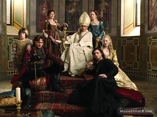 The Borgias - Promo shot of François Arnaud, Holliday Grainger, David Oakes, Aidan Alexander, Jeremy Irons, Joanne Whalley & Lotte Verbeek