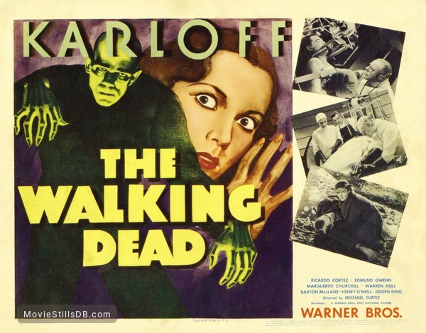 The Walking Dead - Lobby card with Boris Karloff, Marguerite Churchill, Edmund Gwenn & Warren Hull