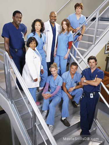 Grey's Anatomy - Promo shot of Katherine Heigl, Patrick Dempsey, Sandra Oh, Ellen Pompeo, Justin Chambers, Chandra Wilson, James Pickens Jr., T.R. Knight & Isaiah Washington