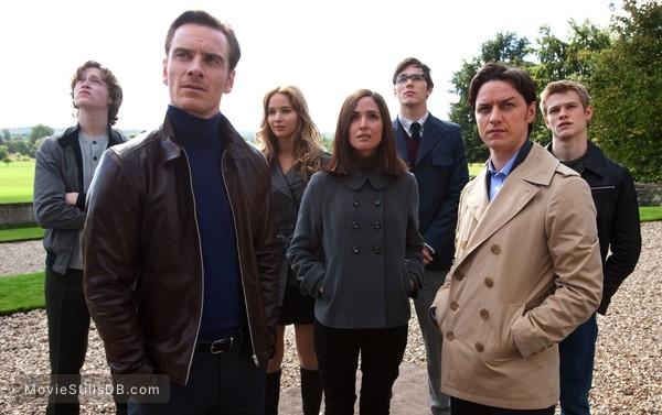 X-Men: First Class - Publicity still of James McAvoy, Michael Fassbender, Jennifer Lawrence, Rose Byrne, Nicholas Hoult, Lucas Till & Caleb Landry Jones