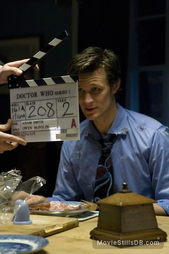 Doctor Who - Behind the scenes photo of Matt Smith