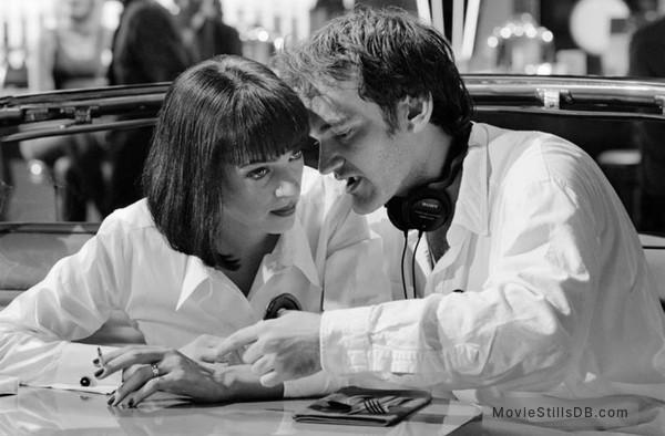 Pulp Fiction - Behind the scenes photo of Uma Thurman & Quentin Tarantino