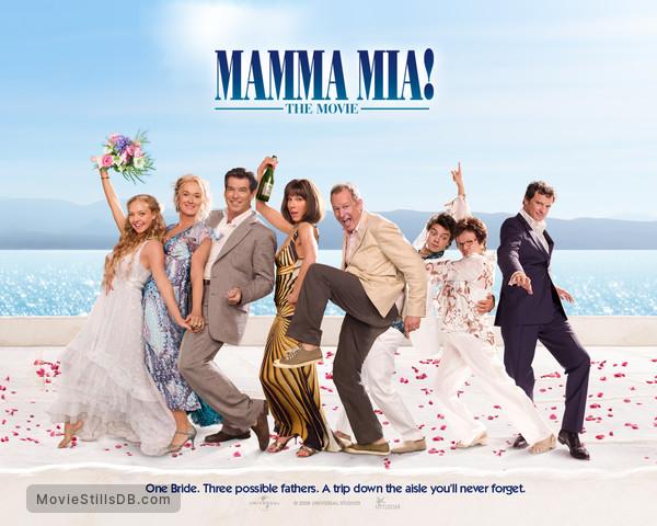 Mamma Mia! - Wallpaper with Meryl Streep, Pierce Brosnan, Amanda Seyfried, Colin Firth, Julie Walters, Dominic Cooper, Christine Baranski & Stellan Skarsgård
