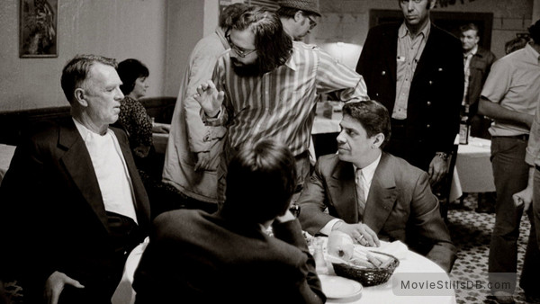The Godfather - Behind the scenes photo of Al Pacino, Sterling Hayden, Francis Ford Coppola & Al Lettieri
