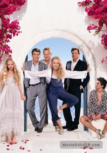 Mamma Mia! - Promotional art with Colin Firth, Meryl Streep, Amanda Seyfried, Pierce Brosnan, Stellan Skarsgård & Dominic Cooper