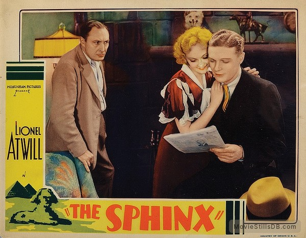 The Sphinx - Lobby card with Lionel Atwill, Sheila Terry & Theodore Newton