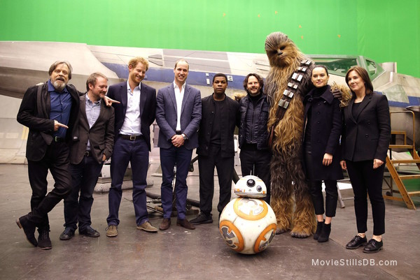 Star Wars: The Force Awakens - Behind the scenes photo of Daisy Ridley, Mark Hamill, John Boyega, Prince William & Prince Harry