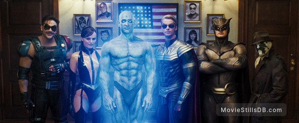 Watchmen - Publicity still of Jeffrey Dean Morgan, Malin Åkerman, Billy Crudup, Matthew Goode, Patrick Wilson & Jackie Earle Haley