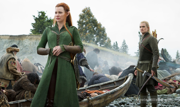 The Hobbit: The Battle of the Five Armies - Publicity still of Evangeline Lilly & Orlando Bloom