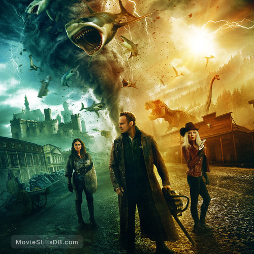 The Last Sharknado: It's About Time - Promotional art with Tara Reid, Ian Ziering & Cassandra Scerbo