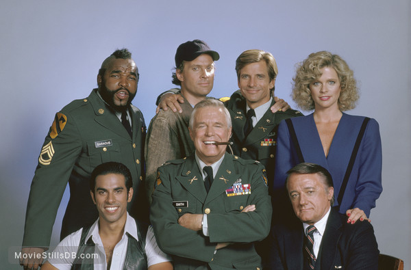 The A-Team - Promo shot of George Peppard, Dwight Schultz, Mr. T, Dirk Benedict, Robert Vaughn, Eddie Velez & Judith Ledford