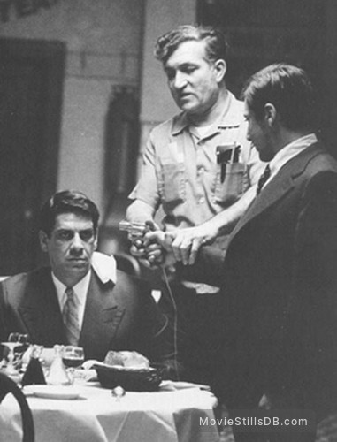 The Godfather - Behind the scenes photo of Al Pacino & Al Lettieri