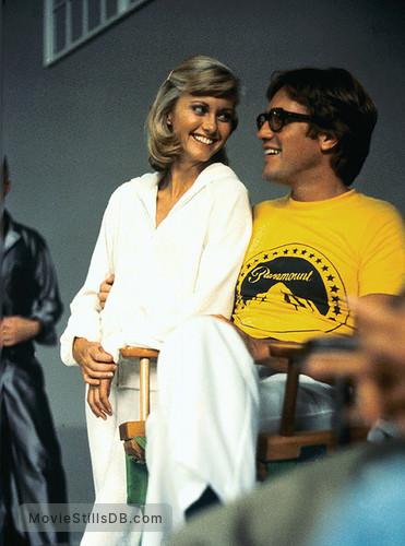 Grease - Behind the scenes photo of Olivia Newton-John & Randal Kleiser