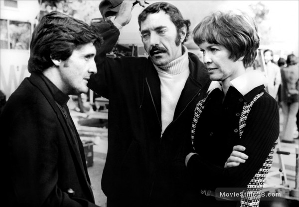 The Exorcist - Behind the scenes photo of Jason Miller, William Peter Blatty & Ellen Burstyn
