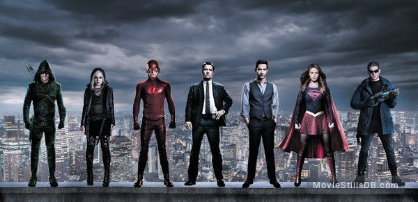 Lucifer - Promotional art with Melissa Benoist, Grant Gustin, Stephen Amell, Rose McIver, Ben McKenzie, Tom Ellis & Wentworth Miller