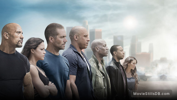 Furious 7 - Promotional art with Vin Diesel, Paul Walker, Jason Statham, Michelle Rodriguez, Jordana Brewster & Dwayne Johnson