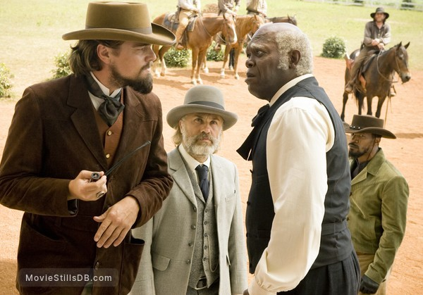 Django Unchained - Publicity still of Leonardo DiCaprio, Samuel L. Jackson, Jamie Foxx & Christoph Waltz