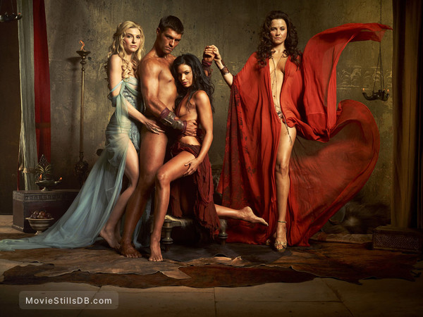 Spartacus: Blood And Sand - Promo shot of Liam McIntyre, Katrina Law, Lucy Lawless & Viva Bianca