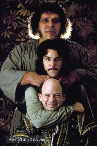 The Princess Bride - Promo shot of Wallace Shawn, André the Giant & Mandy Patinkin