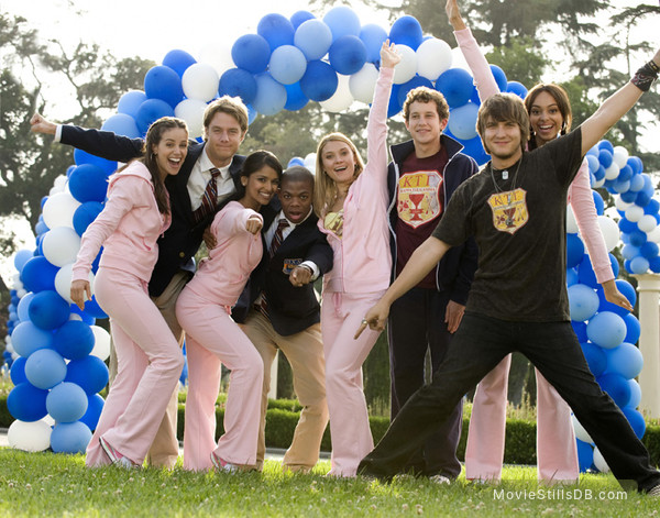 Greek - Promo shot of Scott Michael Foster, Jacob Zachar, Dilshad Vadsaria, Spencer Grammer, Amber Stevens, Paul James, Tiffany Dupont & Jake McDorman