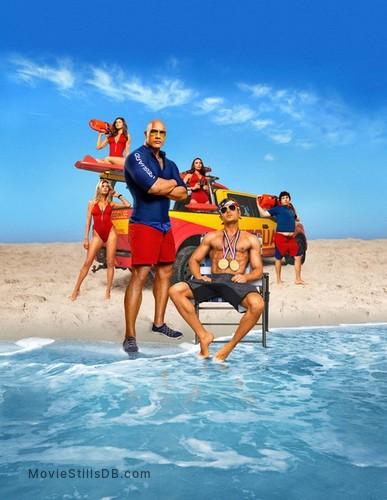 Baywatch - Promotional art with Zac Efron, Dwayne Johnson, Alexandra Daddario, Ilfenesh Hadera, Kelly Rohrbach & Jon Bass