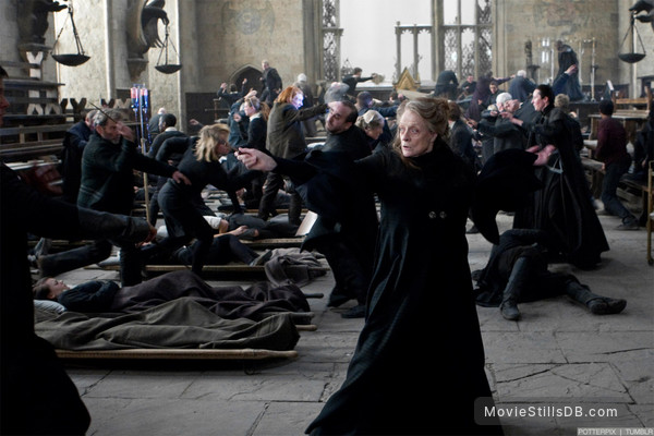 Harry Potter and the Deathly Hallows: Part II - Publicity still of Maggie Smith, Gemma Jones, Domhnall Gleeson & Alfie Enoch